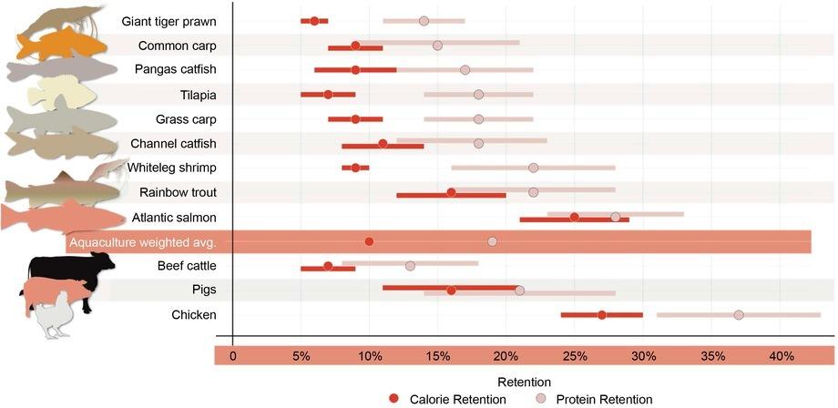 Protein og kalori retensjon for utvalgte produksjonsdyr. Punktene representerer prøveanordninger og linjene representerer standardavvik. Høyere verdier indikerer et mer effektiv opptak.