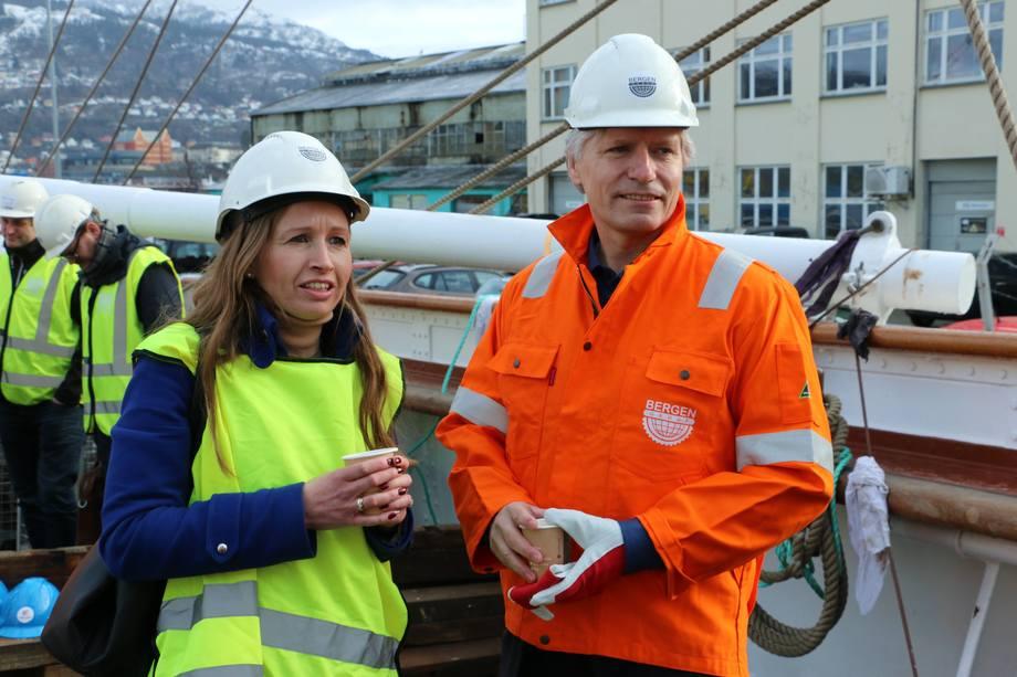 Byråd Julie Andersland og klimaminister Ola Elvestuen (V). Foto: Andrea Bærland