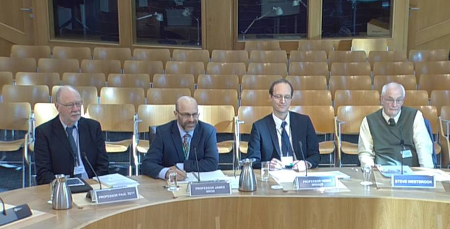 From left, Paul Tett, James Bron, Herve Migaud and Steve Westbrook give evidence at Holyrood. Photo: Scottish Parliament TV