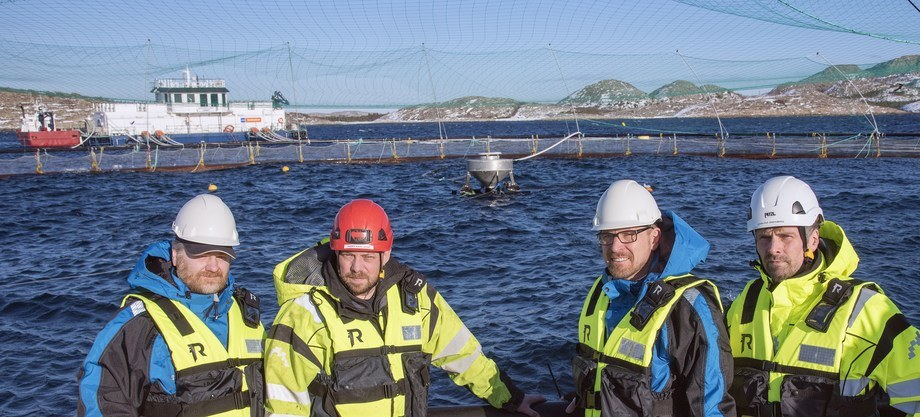 Skrubbholmen i Nærøy er en av flere SinkabergHansen-lokaliteter med dypvannsfôring. På lag med Akva Group startes nå storskala testing av ulike lys for å gi nye svar på adferd og tilvekst. Fra venstre produktsjef Guttorm Lange (AKVA Group), lokalitetsleder Harry Kåre Sørø (SbH), salgssjef Bjørn Sirnes (AKVA Group) og produksjonssjef matfisk, John-Ove Sinkaberg i SinkabergHansen. Foto: Tom Lysø.