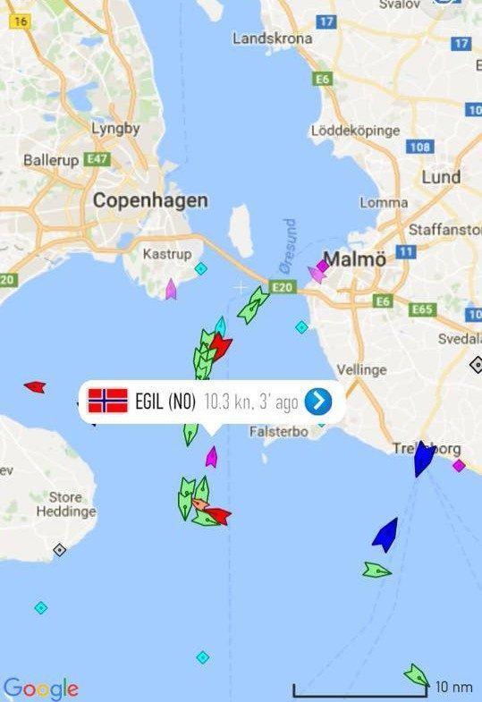 """<p>Deler av reiseruta for arbeidsbåten MS EGIL. Risnes Marine Craft skriv på Facebook-sida si at """"Da er Baltic Sea tilbakelagt. Endre Legland og Ronald Refvik Hellenes har nokre sjømil bak seg.</p>"""