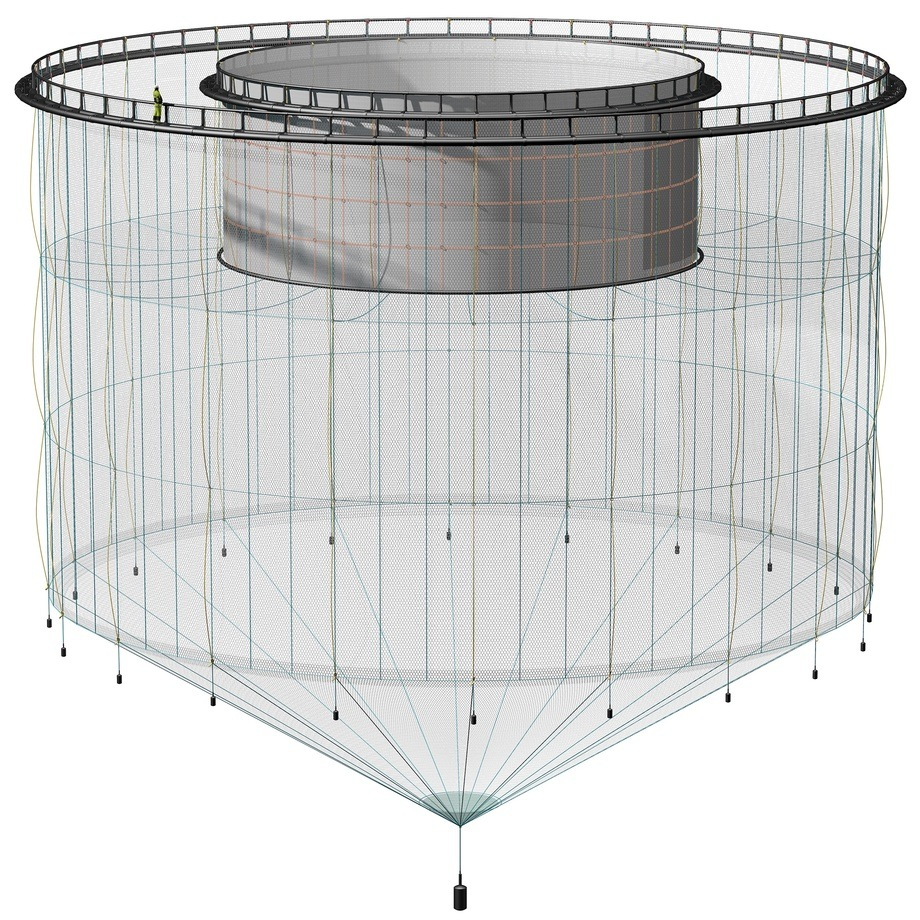 Figure 1. Illustration of a snorkel cage. The snorkel itself comes up inside the inner ring. The net ceiling which prevents the fish from swimming in the surface layer is seen down at the depth where the inner ring starts. The depth of the ceiling can be varied.