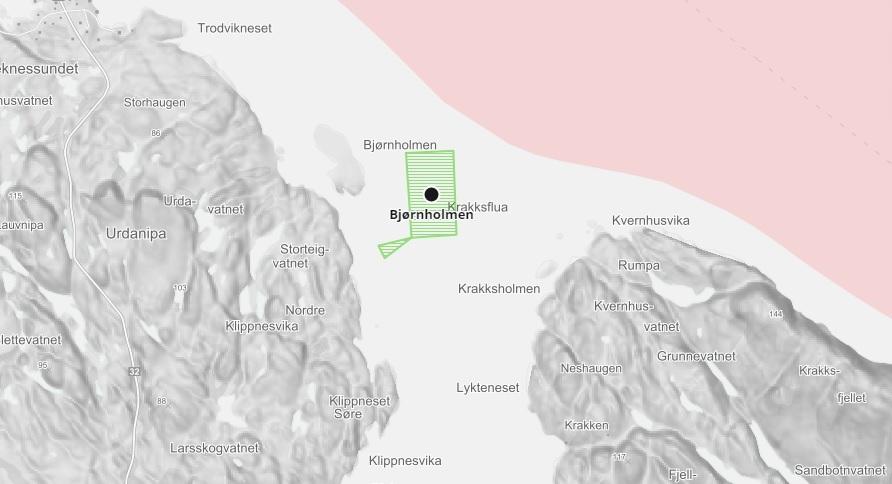 Barentswatch illustrasjon over Erko Seafood lokaliteten Bjørnholmen, som er like i nærleiken der Ramsholmen AS ynskjer å drifte taredrift ved Klippenesvika.