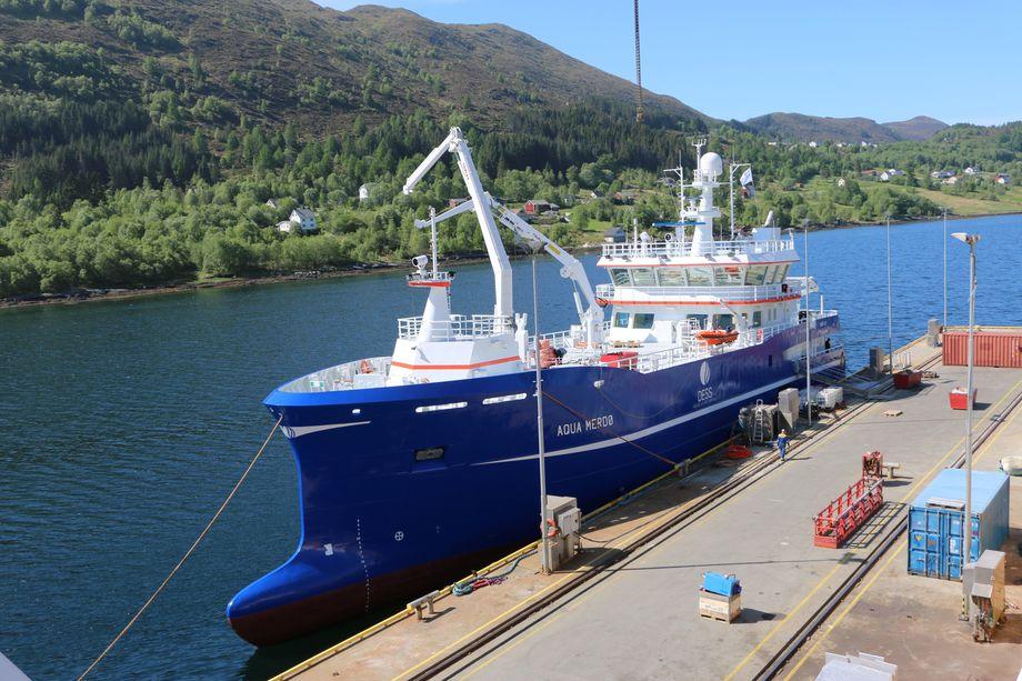 """<p>Bløggebåten """"Aqua Merdø"""" ble overlevert til Dess Aquaculture 24. mai. Foto: Andrea Bærland</p>"""