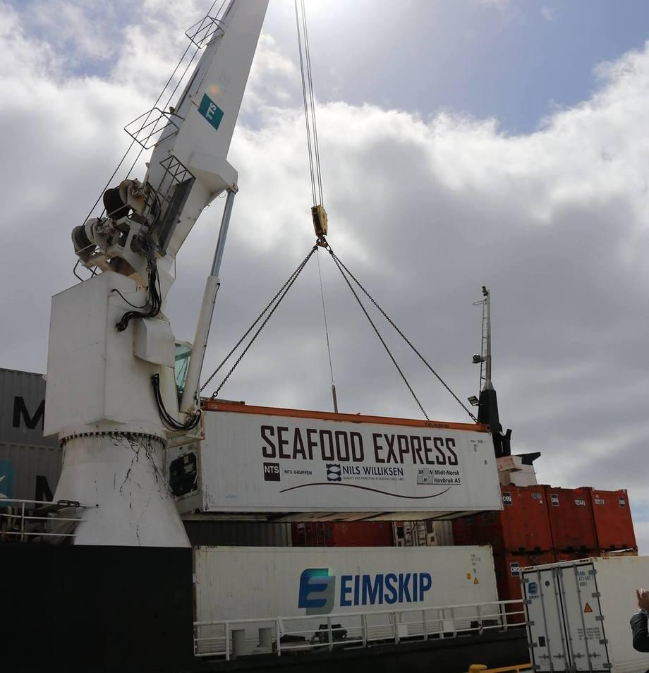 <p>Fiskeriministeren åpnet kysthavna med å løfte den første lasten med sjømat ombord. Foto:Nord-Trøndelag Havn Rørvik IKS.</p>