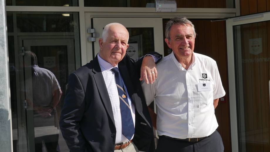 "<p>Former chief engineer Peter Crook, who built the first hatchery on the Inchmore site in 1978, with long-serving Marine Harvest business support manager Steve Bracken, right. Crook, who was invited to the opening of the new hatchery, was congratulated on the orginal hatchery by MH Scotland MD Ben Hadfield, who joked:""I'm sorry that in the end we had to bulldoze it, but we needed the space.""</p>"