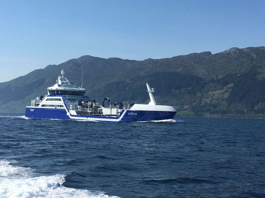 <p>Rosteins nye brønnbåt Ro Fortune er lett gjenkjennelig ute på norskekysten, og er allerede i drift hos oppdrettere i Nord-Norge. Foto: Larsnes Mek. Verksted.</p>
