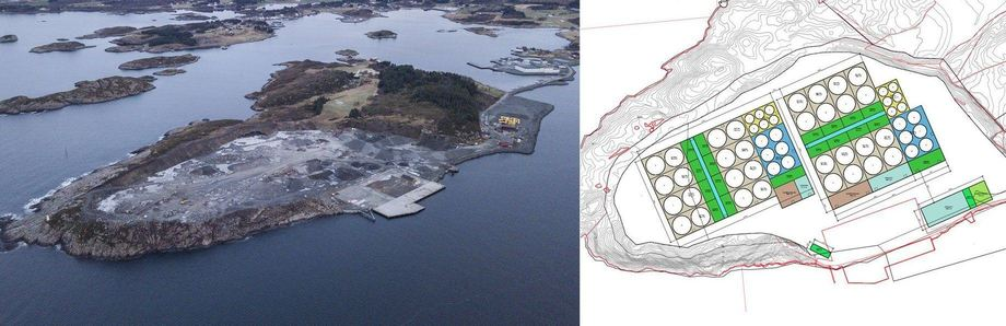 The site of the proposed salmon farm, and a plan of how the facility will be laid out. Images: Salmon Evolution.