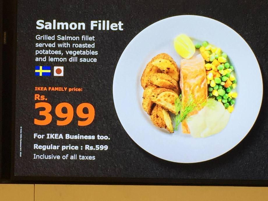 Salmon will be sold for R399 (£4.54) with a discount card in IKEA's new Indian stores.