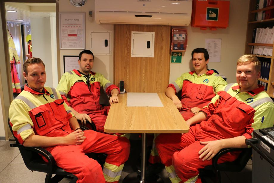 <p>Jon Kristian Moltu, Fredrik Grytten Olsen, Stian Vågesgard og Håvard Åmunøy. Foto: Vibeke Blich</p>