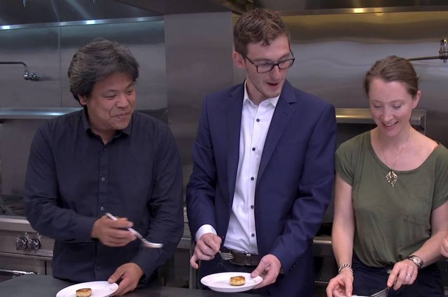 Finless Foods holds a tasting of fish cakes made from cell-grown 'clean meat' last year. Video grab: Finless Foods