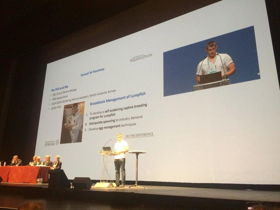 Samuel Pountney gives a presentation at Aqua 2018 in Montpellier, France, earlier this week.