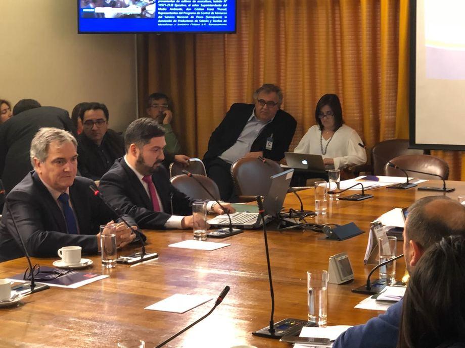 El presidente de la Asociación de Salmonicultores de Magallanes, Drago Covacich y el gerente del gremio, Cristian Kubota, exponiendo en la Comisión de Pesca y Acuicultura de la Cámara de Diputados. Fuente: Asociación de Salmonicultores de Magallanes.