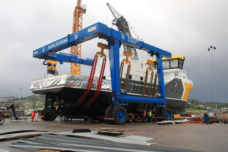 <p>MS Taupo sjøsatt ved Fitjar Mekaniske Verksted</p>