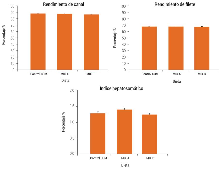 <p>Rendimiento de canal, rendimiento de filete (trim c) e &iacute;ndices hepatosom&aacute;ticos de peces alimentados con las dietas experimentales durante el experimento 2.</p>