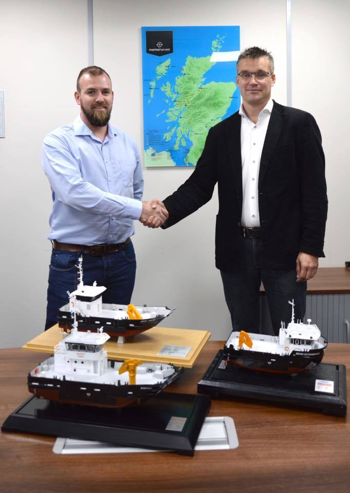Don MacLeod, MH Scotland's delicing systems & fleet development manager, left, and Gerrit Knol. Photo: Marine Harvest