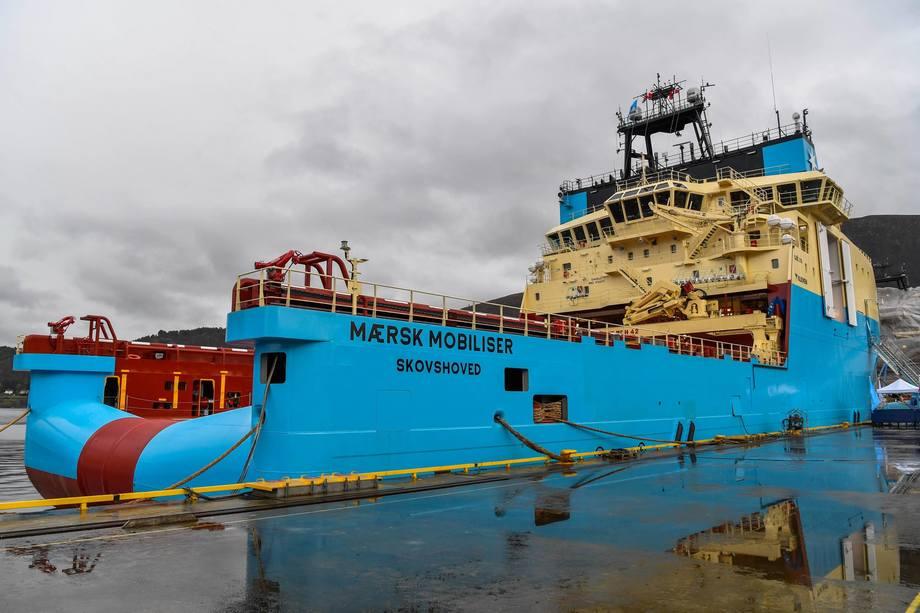 «Mærsk Mobiliser»er nest siste skip ut fra Kleven for Mærsk. Foto: Olav Thokle Fotomaritim