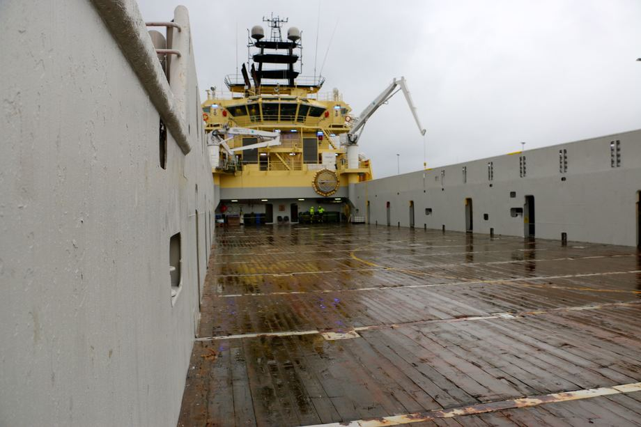 <p>Fartøyet har et dekksareal på 900 m2. Foto: Andrea Bærland</p>