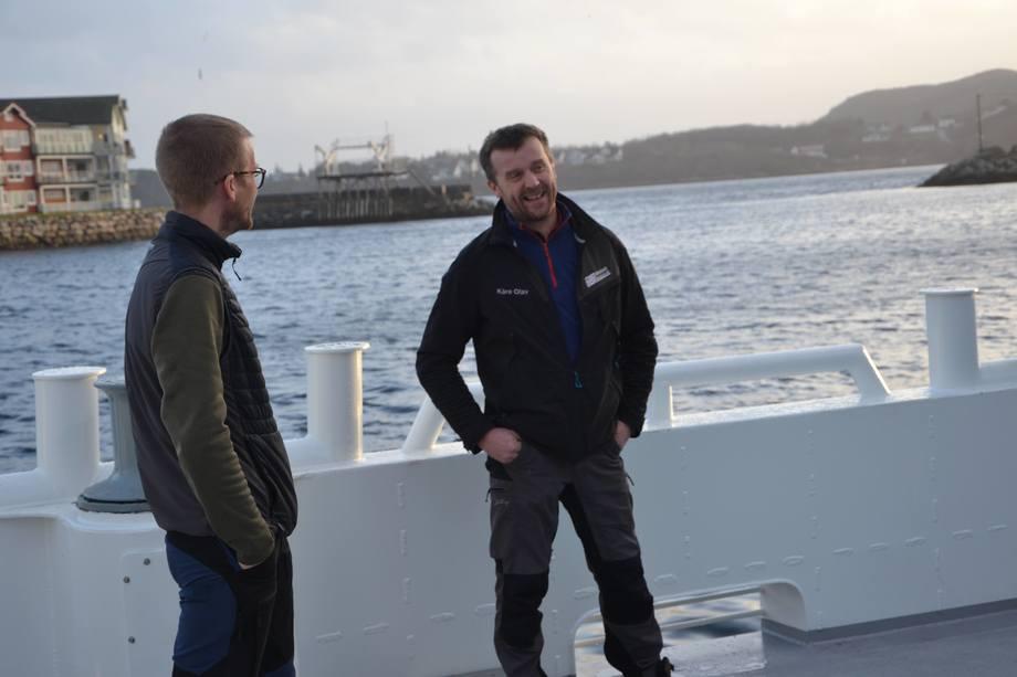 <p>Eystein Fiskum i PKOM og Kåre Olav Moen på dekk. Foto: Ole Andreas Drønen</p>