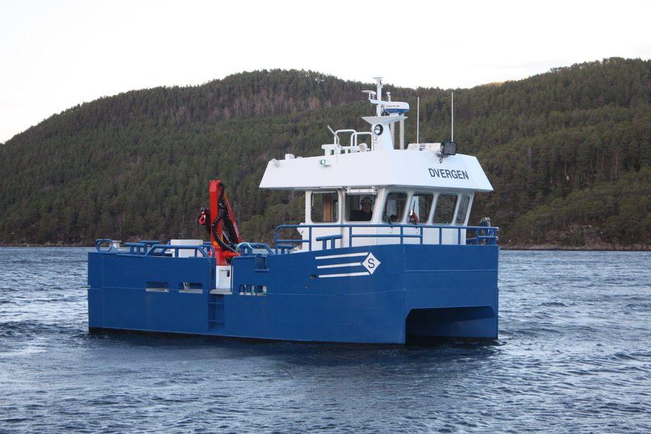 «Dvergen» ble levert fra Sletta Verft til Salmar Farming den 30. november, og verftet skal i januar levere enda et fartøy til oppdrettsselskapet. Foto: Sletta Verft.