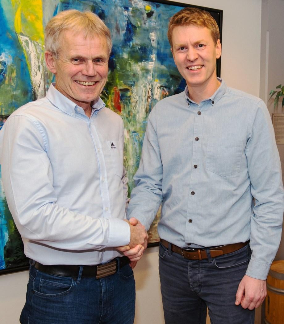 Fv: Styreleder Kjell Bjordal og påtroppende konsernsjef i Nordlaks, Eirik Welde. Foto: Bjørn Eide/Nordlaks