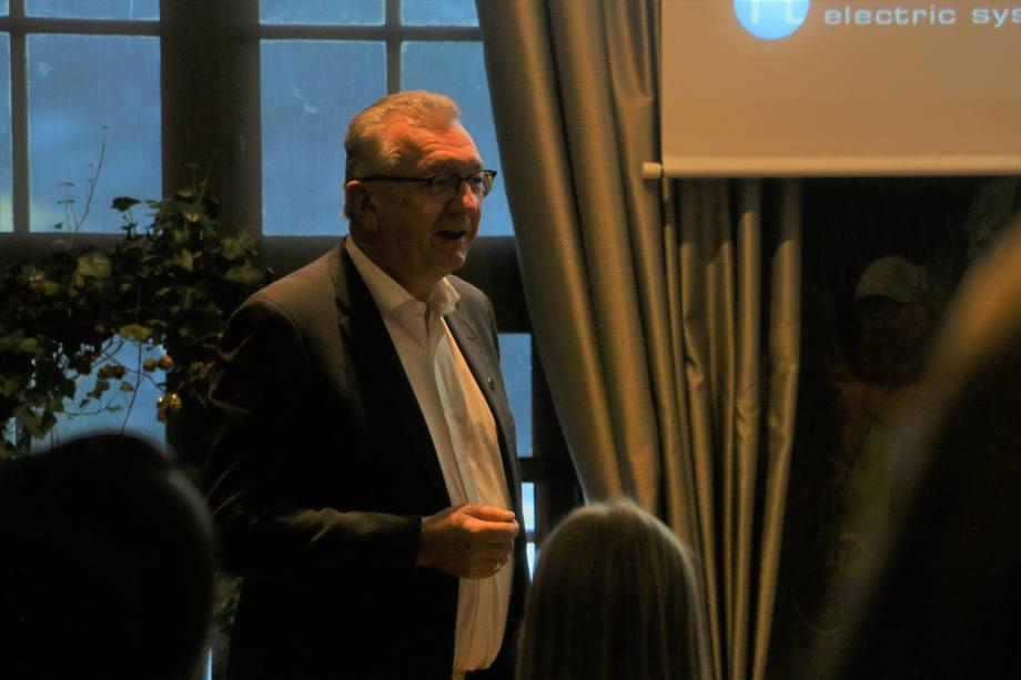 <p>Tor Leif Mongstad, President & CEO Norwegian Electric Systems snakket omHybrid-løsninger for større utslippskutt. Foto: Vibeke Blich</p>