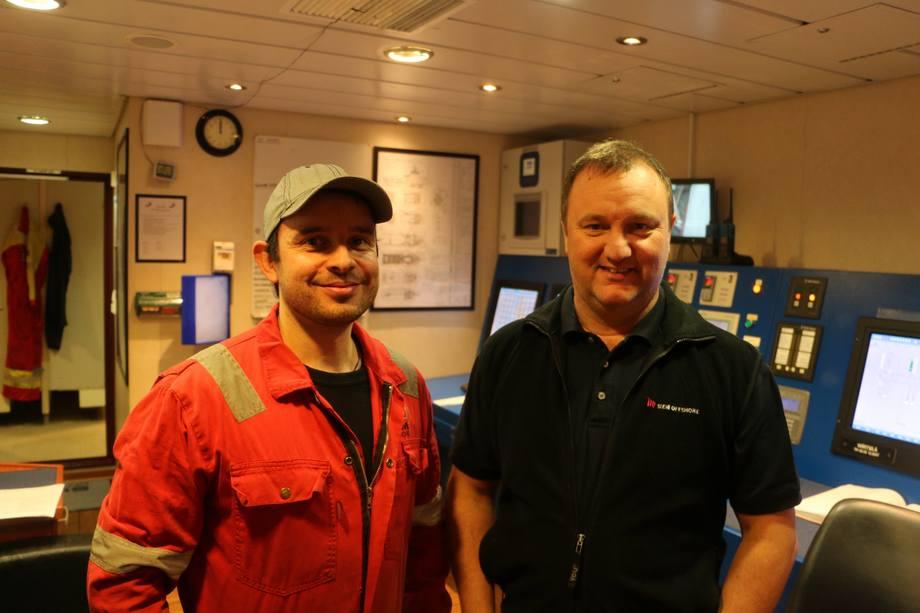 <p>Maskinsjef Antonio Tunem ogkaptein Svein Wefring.</p>