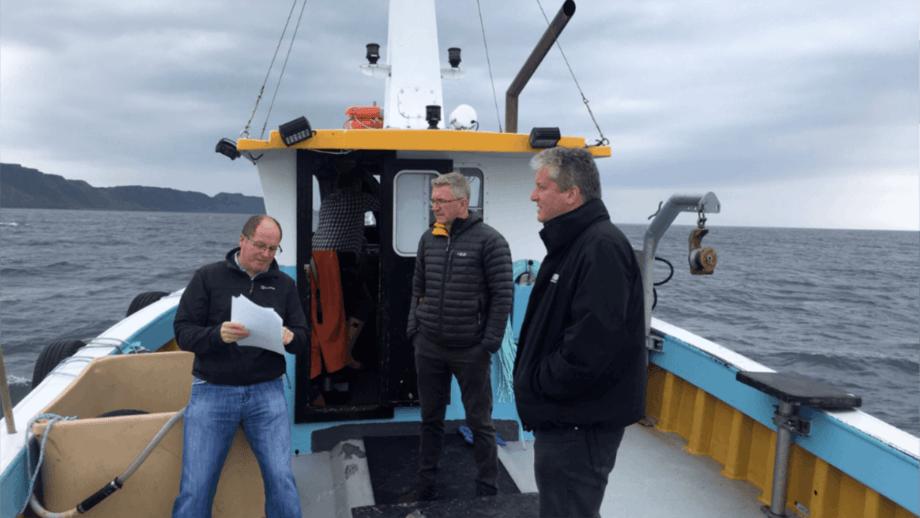 From left: Alex MacInnes, director of Organic Sea Harvest, Hugh Drever, managing director of Villa Seafood UK, and Robert Gray, director of Organic Sea Harvest during a site planning trip.