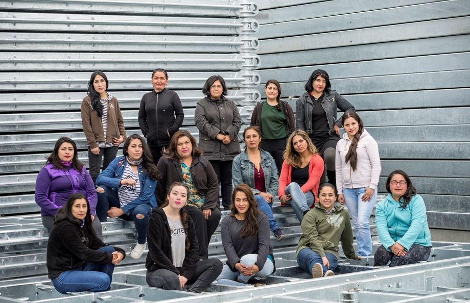 Some of the 23 women welders now employed by AKVA in Chile. Photo: AKVA.