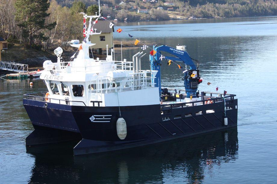 <p>Den nye arbeidsbåten ble i går overlevert til Lerøy Aurora. Foto: Sletta Verft</p>
