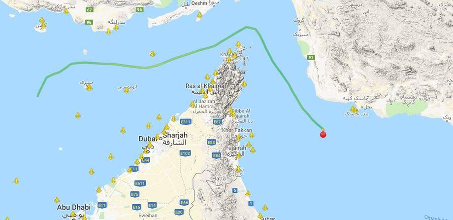 Bildet viser skipets rute. Det ligger nå i ro viser data fra nettstedet marinetraffic.com. Skjermdump: Marinetraffic.com