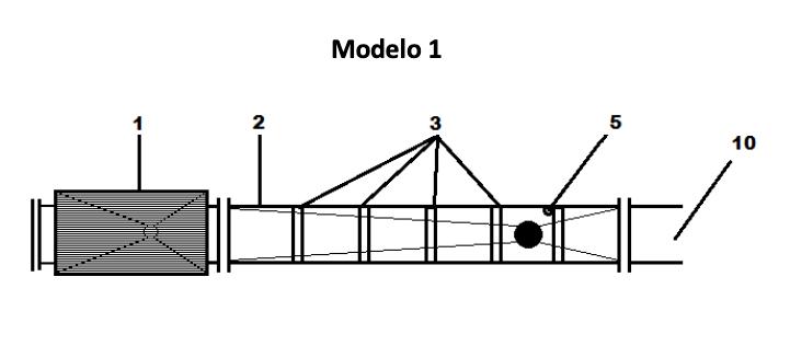 <p>Es una configuración simple del sistema para la eliminación de parásitos que incluye; una tolva de entrada con un ingreso de bomba, una zona de aplicación y una salida.</p>