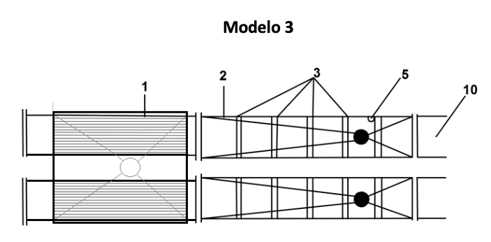 <p>Es una configuración simple del sistema para la eliminación de parásitos que incluye; una tolva de entrada con dos ingreso de bomba, dos a una zona de aplicación y dos salida.</p>  <p>Permite minimizar tiempo de tratamiento por jaula o trabajar con dos jaulas simultáneamente.</p>
