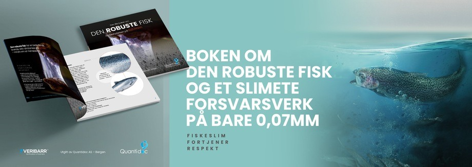 «Den robuste fisk og et slimete forsvarsverk på bare 0,07 mm» heter boken som kan finnes gratis under Aqua-Nor. Foto: Annerledeslandet/Nagelld.