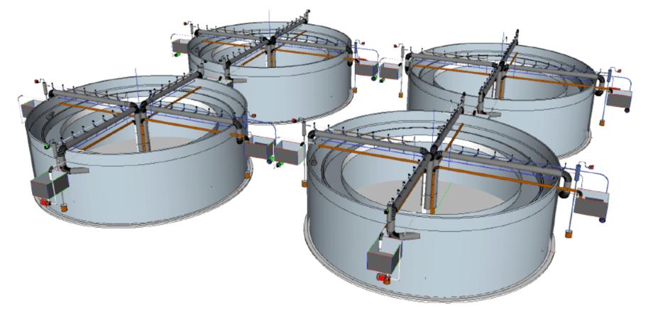 Bildet viser et anlegg med fire kar for matfiskproduksjon. Karvolum opp til 5000 kbm. Illustrasjon: SeaRAS.