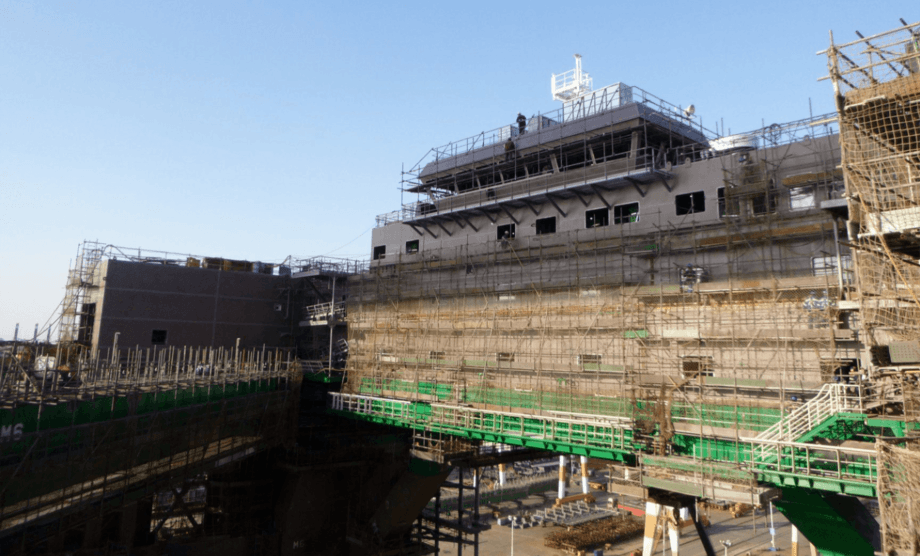 The superstructure of the Havfarm under construction in China. Photo: Nordlaks.