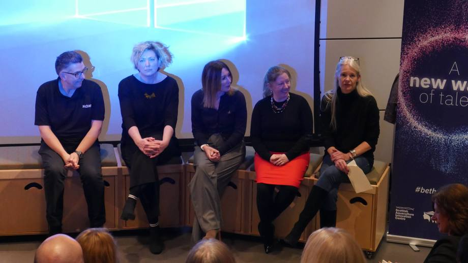 From left: Donald Waring (Mowi), Debra Nichol Storie (SSC), Tracy Bryant-Shaw (SSF), Alison Hutchins (Dawnfresh) and Sophie Fridman (Institute of Aquaculture, Stirling University), answer questions about the industry. Photo: FFE.