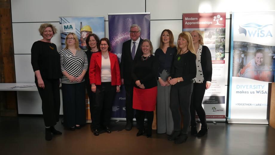 From left: Debra Nichol Storie, Jennifer Adamson (Lantra), Mary Fraser, Heather Jones (SAIC CEO), Fergus Ewing, Alison Hutchins, Tracy Bryant-Shaw, Benedikte Ranum (SAIC) and Hazel Peat (SAIC). Photo: FFE.