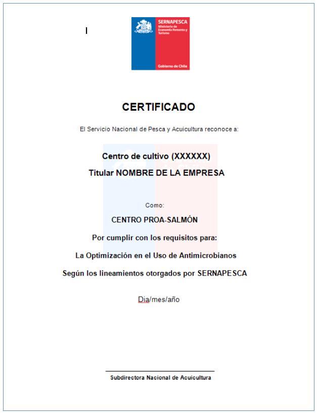 Certificado emitido por Sernapesca. Fuente: Sernapesca.