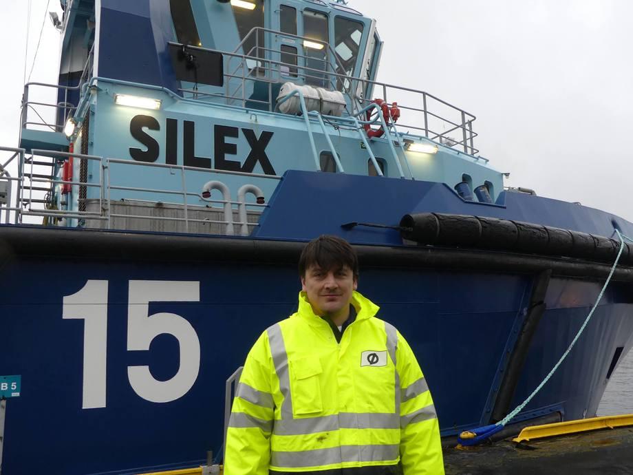 <p>Kaptein på båten MS «Silex» Frode Fredriksen.Foto: Margarita Savinova.</p>