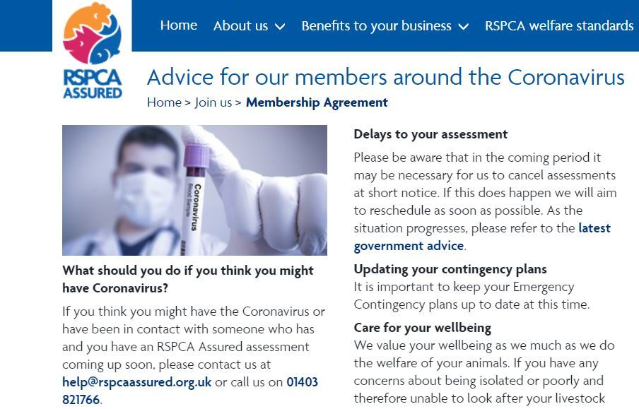 Detail from the RSPCA Assured web page giving advice about coronavirus.
