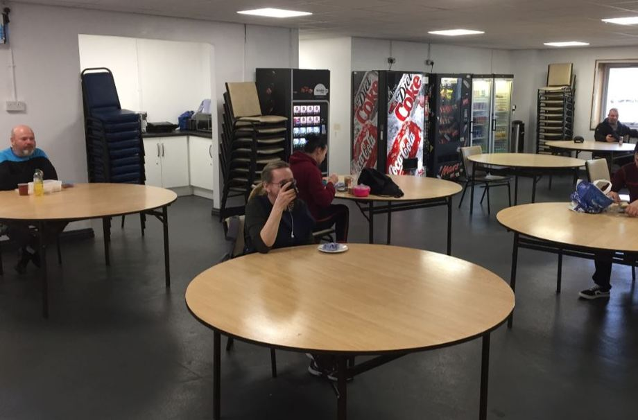 Table for one: social distancing in action at the canteen at Mowi's Blar Mhor primary processing plant. Photo: Mowi.