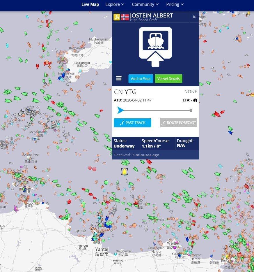 """<p>Nordlaks skriver på Facebook følgende til dette bildet:""""High speed craft"""" Jostein Albert beveger seg nå med 1,1 knops fart nordover fra Yantai. PS: Marine Traffic har tatt litt vel mye Møllers Tran..</p>"""