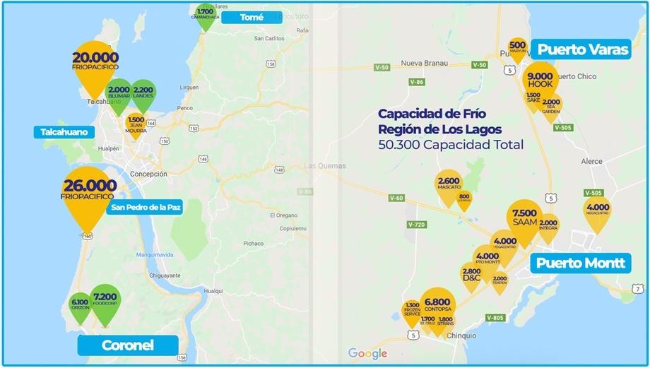 Infografía de Frigopacífico sobre capacidad de frío en región de Los Lagos.
