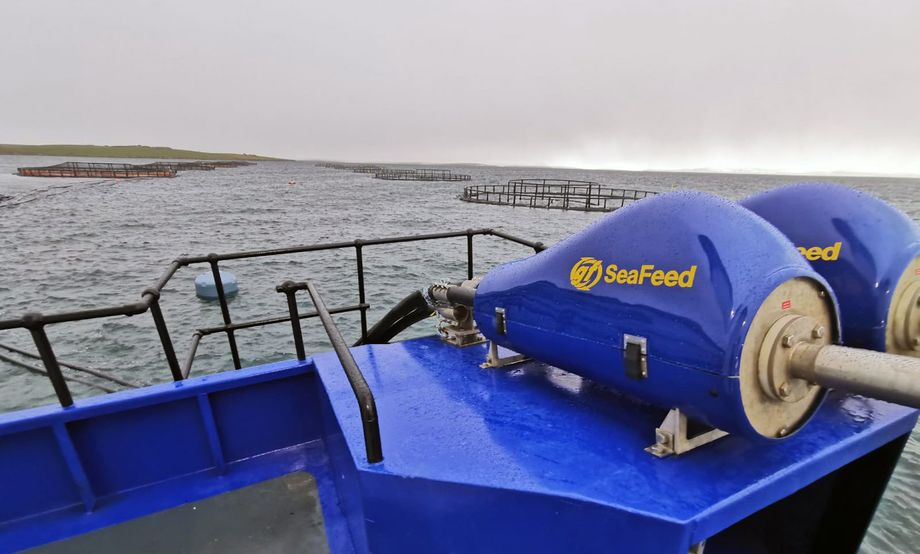 A Gael Force SeaFeed feeding system in action on a fish farm in Orkney. The company hopes to double its workforce to 500 by 2025. Photo: Gael Force.