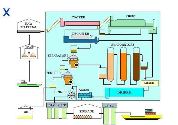 A diagram of the fishmeal process taken from the IFFO website.