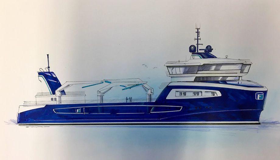 Nybygget til Frøygruppen vil få navnet «Gåsø Odin» å få en kapasitet på 4.500 kubikkmeter. Fartøyet baserer seg på det velkjente designet som flere av de andre brønnbåtene i Frøygruppen har, og som er utarbeidet i samarbeid med Møre Maritime. Illustrasjon: Møre Maritime