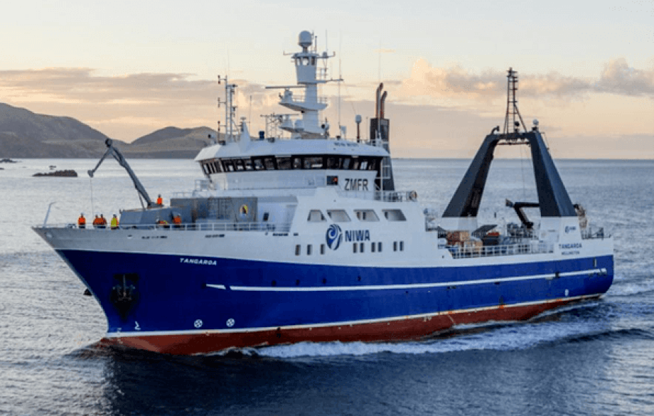«Tangaroa», et 70 m fiskeri- og havforskningsskip bygget i Norge i 1991. Foto: Skipsteknisk