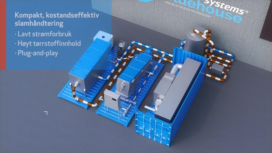 «Plug-and-play» containeriserte slam - og vannbehandlingsanlegg. Containeranleggene har stor kapasitet og fleksibilitet og håndterer avløpsslam fra opptil 2500 tonn årlig fôrmengde. Systemet er bygget i 20' ISO miljøcontainer – og leveres også på skids.