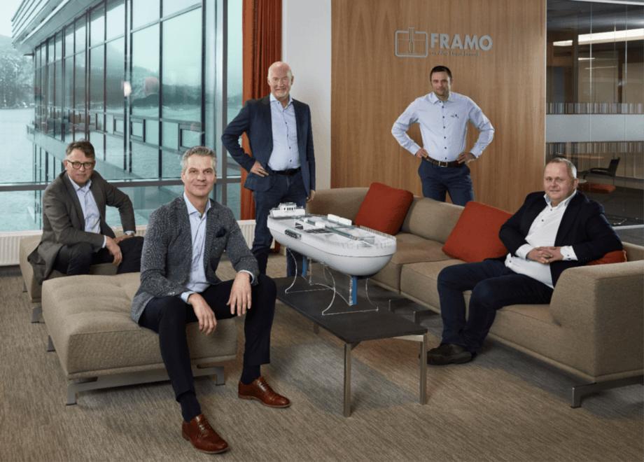 The StadionLaks board, from left: Oddbjørn Jacobsen, Framo Innovation; Martijn Bergink, Framo AS; Jan Ove Midthun, Stadion Basin project manager; Erlend Haugarvoll, Lingalaks and StadionLaks chair; Morten Vike, Lingalaks. Photo: StadionLaks.